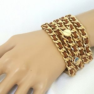 Gift Ready SAACHI Gold & Brown Leather Bracelet